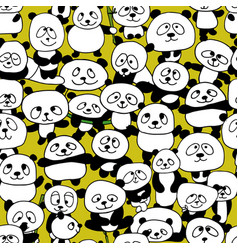 Funny pandas seamless pattern for your design vector
