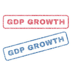 Gdp growth textile stamps vector