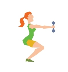 Girl exercise training doing squats vector