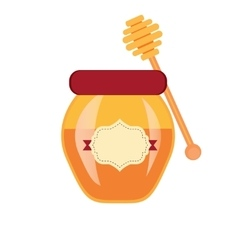 Glass can full of honey jar and wooden stick vector image