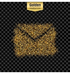 Gold glitter icon of envelope isolated on vector image