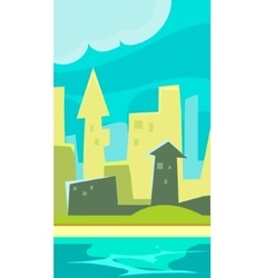 Green city vertical landscape flat vector