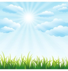 Green grass field and blue sky vector