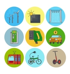 Green power and eco transport icons vector image vector image