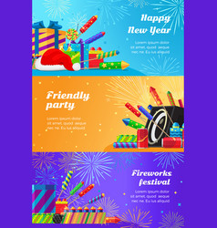 Happy new year fireworks festival and party vector