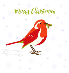 Holiday greeting card with cute robin bird vector