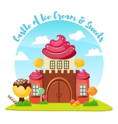 Ice cream castle composition vector