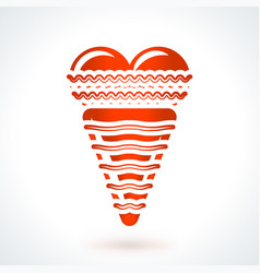 Icecream with heart st valentines day design vector