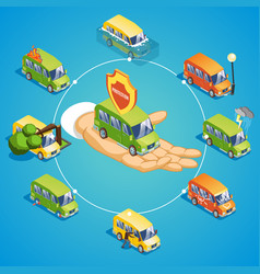 Isometric car insurance round concept vector