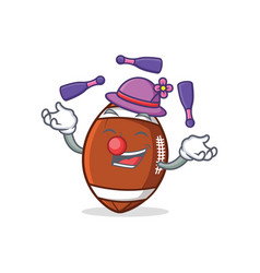 Juggling american football character cartoon vector