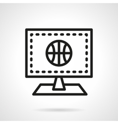 Monitor with basketball black line icon vector
