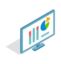 Monitor with charts icon isometric 3d style vector image