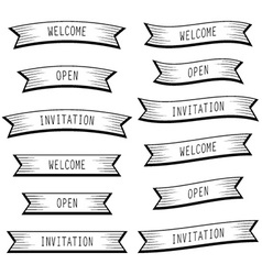 Ribbon banners welcome open invitation vector