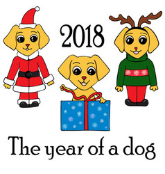 Set of 3 dogs in new years suits symbol of 2018 vector