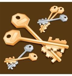 Set of keys on brown background vector
