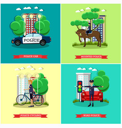 Set of police posters in flat style vector
