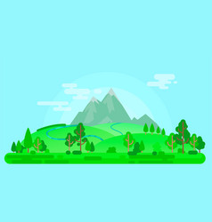 Summer landscape with mountains and trees vector