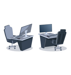 Two desks with computers vector