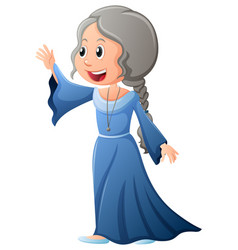 Upper class woman in blue dress vector