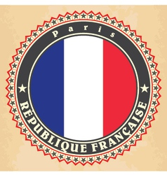 Vintage label cards of france flag vector