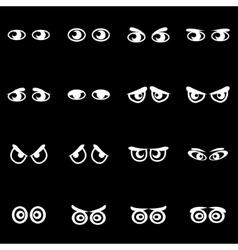 white cartoon eyes icon set vector image