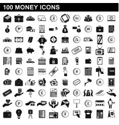 100 money icons set simple style vector image vector image