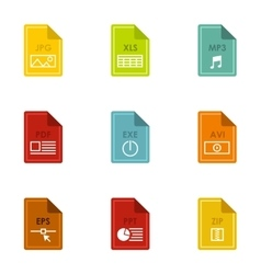 Types of files icons set flat style vector