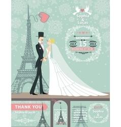 Wedding invitation cardsBridegroomParis Winter vector image
