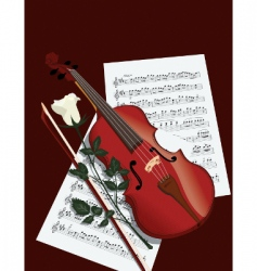 Violin rose and sheets vector
