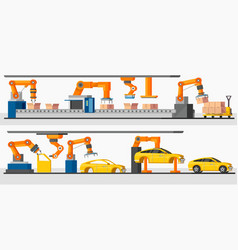 Industrial automation robot horizontal banners vector