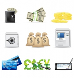 Banking and finance icon set vector