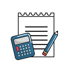 Paper notebook with pencil and calculator tools vector