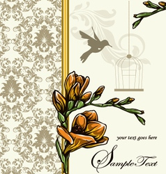 Wedding card or invitation with floral background vector image