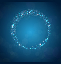 Sparkles frame abstract on blue background vector