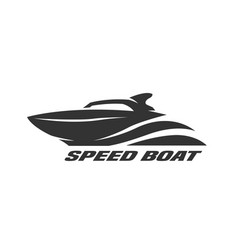 speed boat monochrome logo vector image