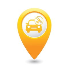 car with satelite icon pointer yellow vector image