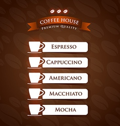 Coffee house premium quality menu list designs vector