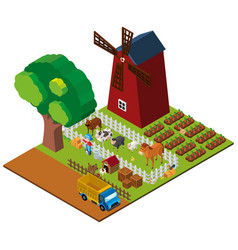 3d design for farmland with farmer and animals vector