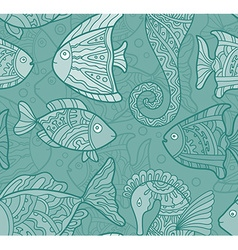 Ornate sea seamless pattern with fishes seahorses vector