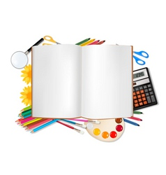 Back to school horizontal set with supplies vector
