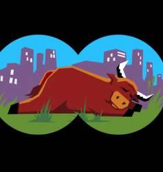 bull sleeping vector image
