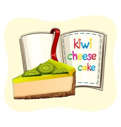 Kiwi cheesecake and a book vector