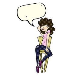 Cartoon woman posing on chair with speech bubble vector