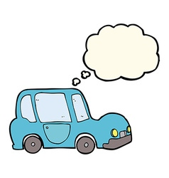 Cartoon car with thought bubble vector