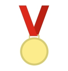 Medal with red ribbon flat icon vector