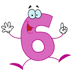 Funny cartoon numbers-6 vector