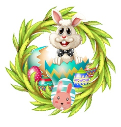 An easter design with a bunny eggs and leafy plant vector image vector image