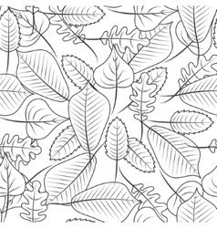 Black and white coloring leaves seamless pattern vector