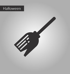 Black and white style icon halloween witch broom vector