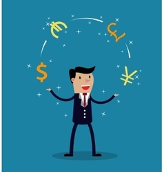 Businessman juggle with different currency vector
